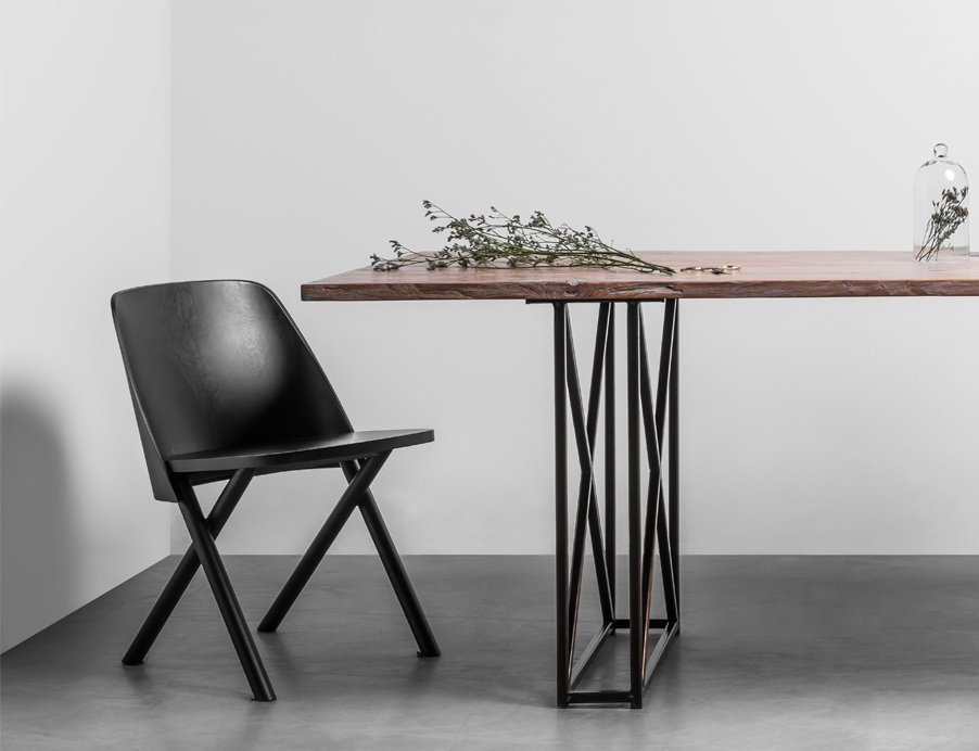 Industrial dining table made from teak wood