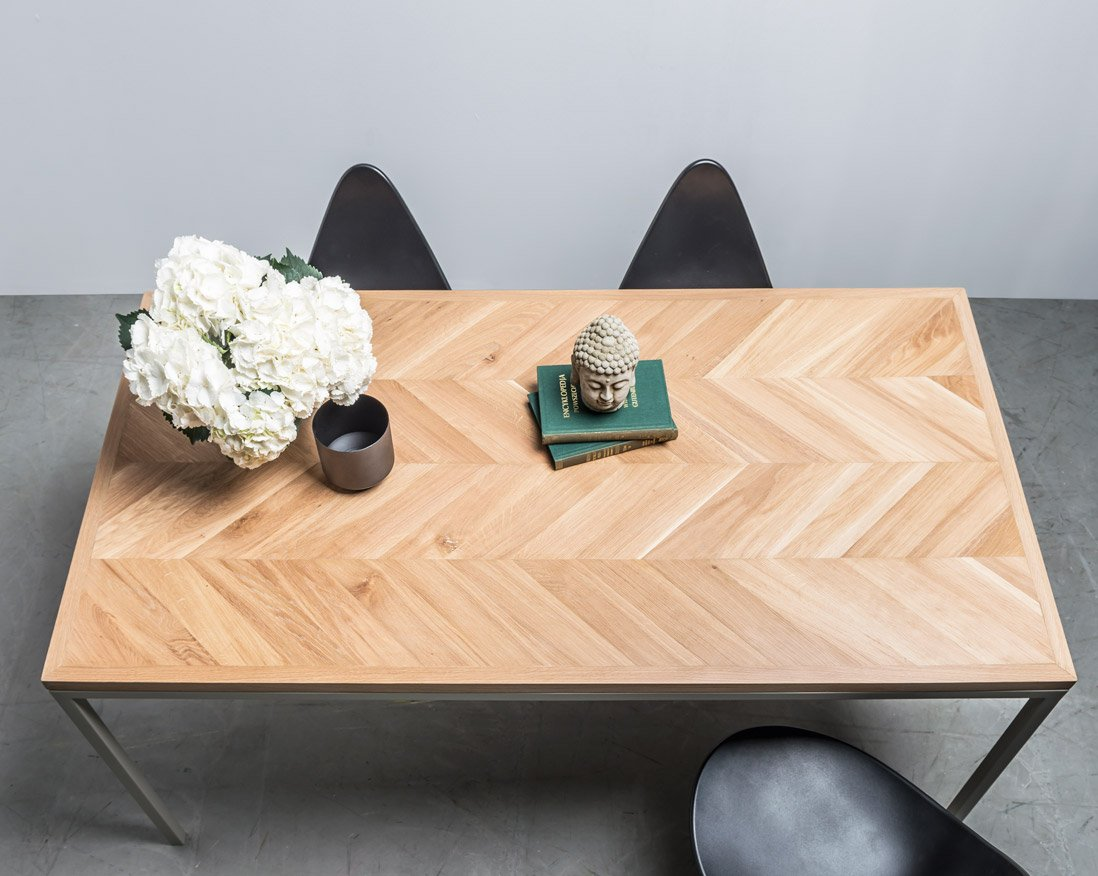 Exclusive oak table with chevron style top from Hoom
