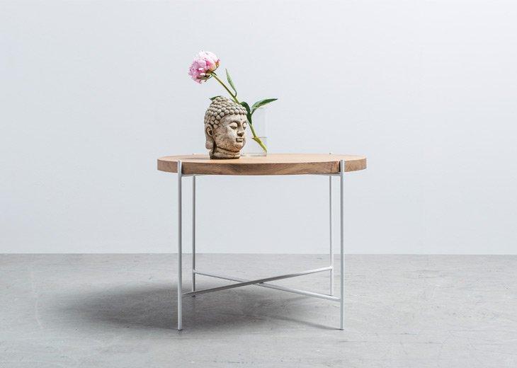 Okrągły Stolik kawowy z litego drewna od Hoom