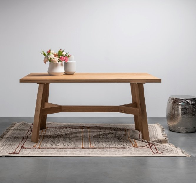 Wooden table in the Scandinavian style
