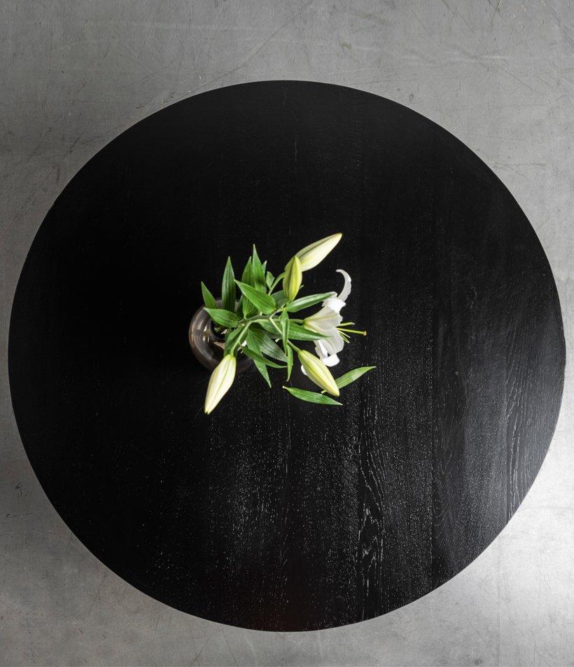 czarny okragly debowy blat od stolu Oliver Hoom